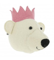 Mini Felt Bear Head with Pink Crown