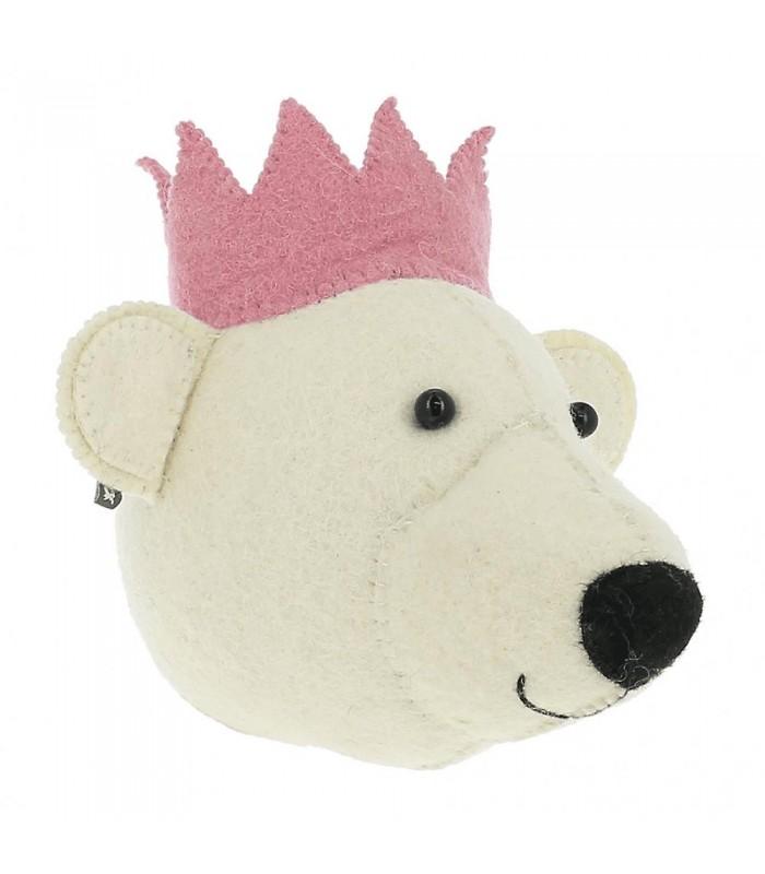 Mini Felt Bear Head with Pink Crown