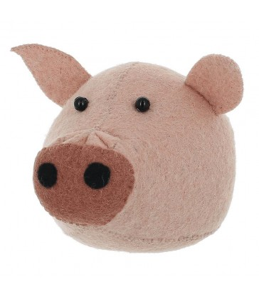 Mini Felt Pink Pig Animal Head