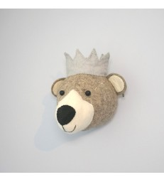 Mini Felt Bear Head with Blue Crown
