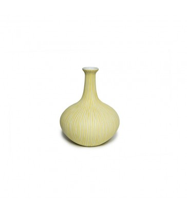 Scandinavian Ceramic Vase - Yellow and White