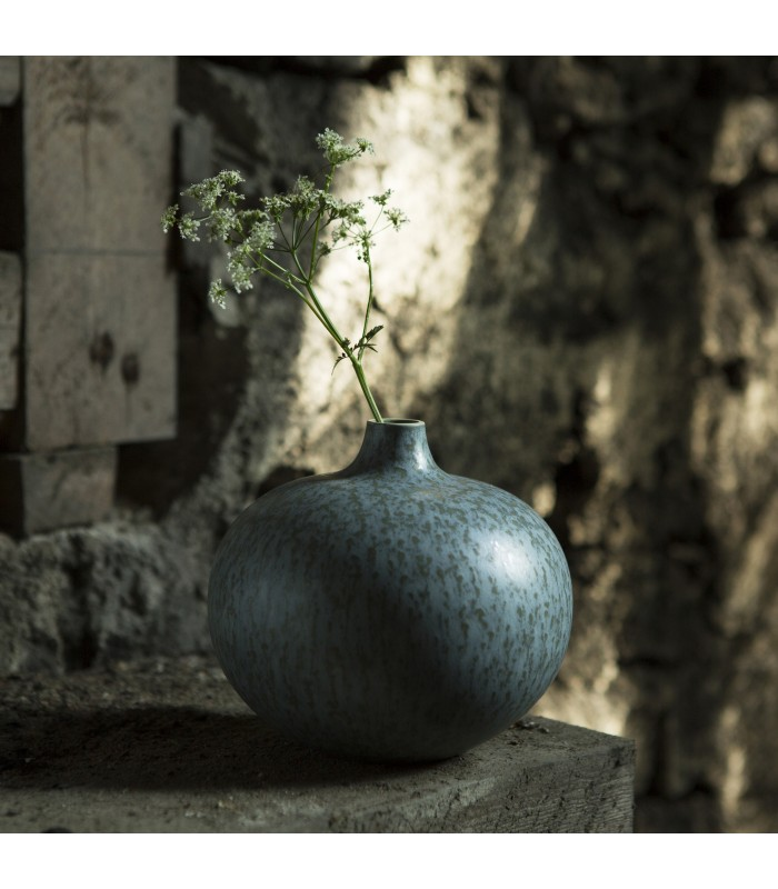 Round Turquoise and Gold Vase