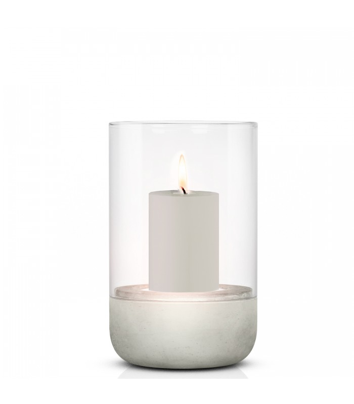 small hurricane lamp with concrete base