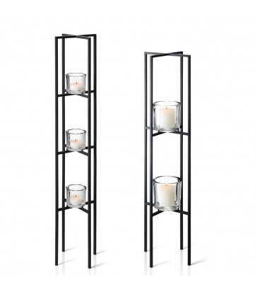tiered tea light candle holders in black metal