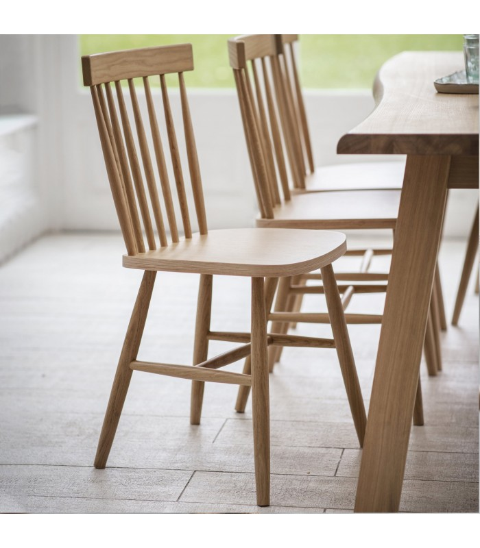 oak dining chair with high spindle back from the blue door monkstown