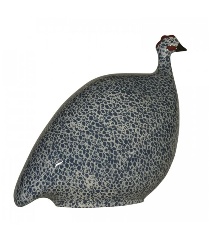 Ceramic Guinea Fowl White Cobalt Blue