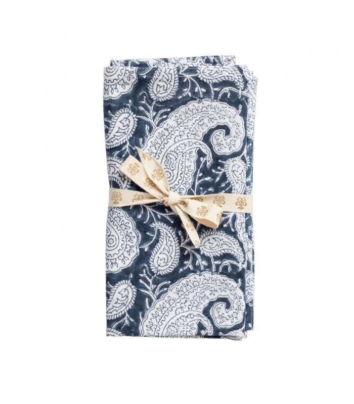 Navy Blue Paisley Pattern Napkins - Set of Two