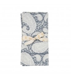 Sea Blue Paisley Pattern Napkins - Set of Two