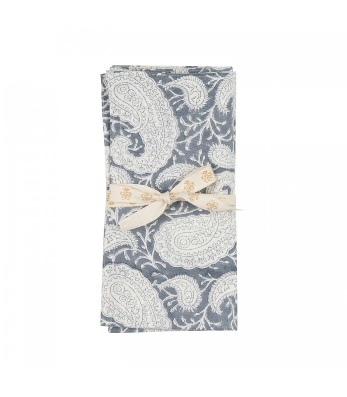 Sea Blue Paisley Pattern Napkins - Set of Two