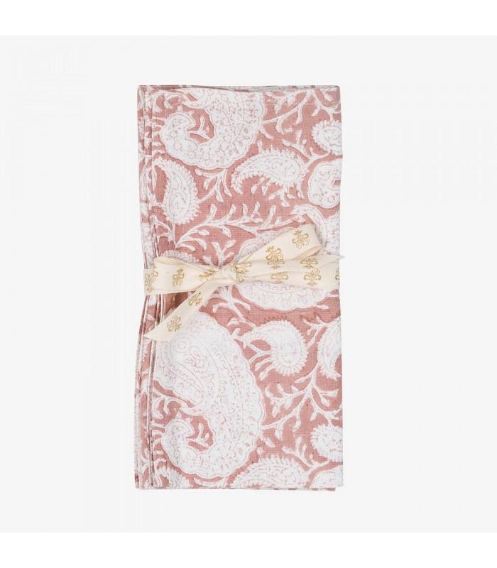 Rose Pink Paisley Pattern Napkins - Set of Two