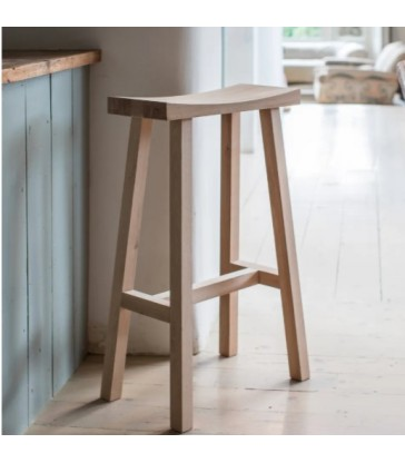Contemporary Bar Stool Natural Oak Seat & Legs