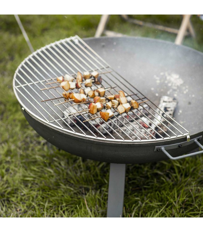 medium fire pit half grill for barbeques