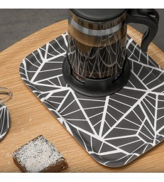 Small Rectangular Tray - Black Geometric Pattern