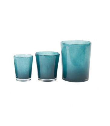 conic navy blue glass vases in three sizes