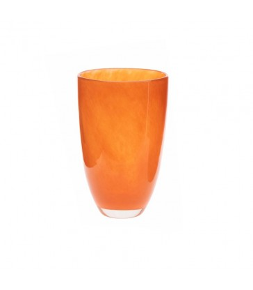 Warm Orange Glass Flower Vase