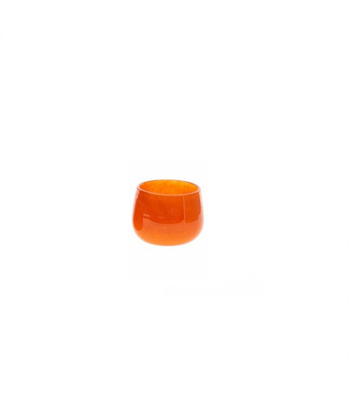 small warm orange glass pot