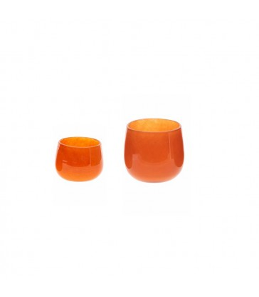 warm orange glass pots