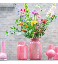 Cranberry Pink Glass Flower Vases - 2 sizes