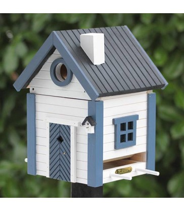 Blue & White Cottage Bird Feeder & Nesting Box