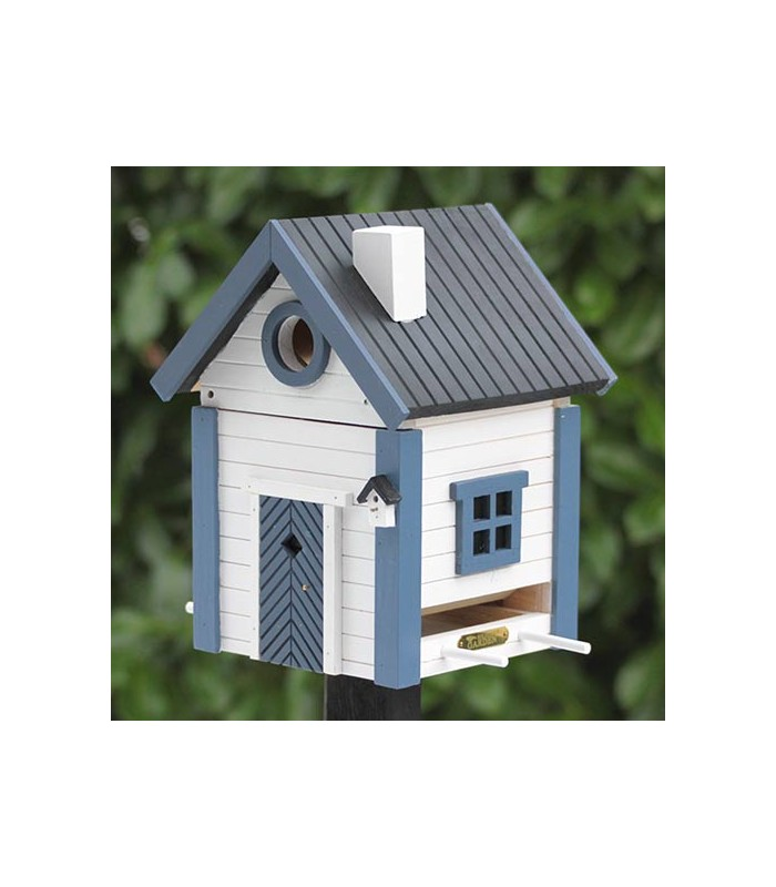 Blue & White Cottage Bird Feeder & Nesting Box