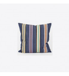 Hana Multi-coloured Striped Cushion - Navy/Blue