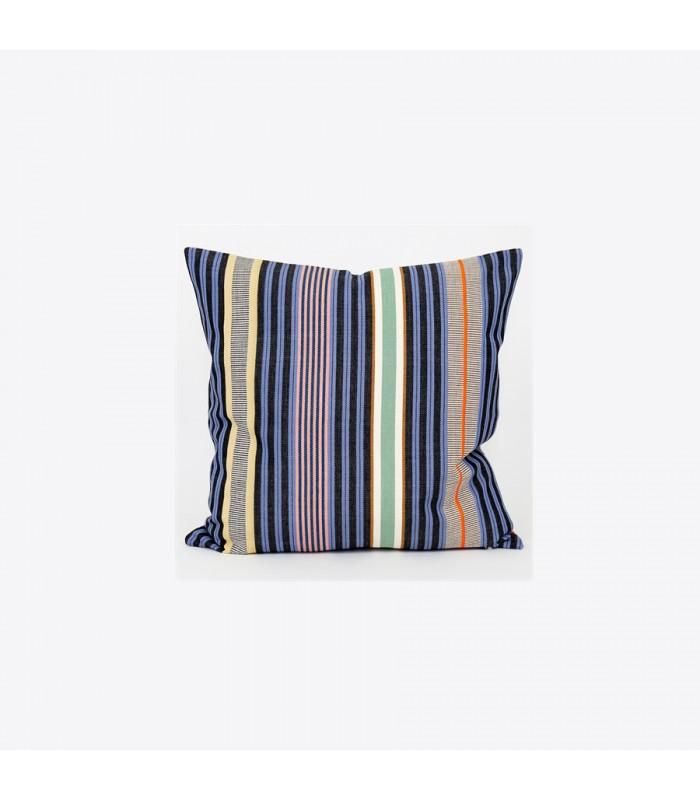 Hana Multi-coloured Striped Cushion - Navy/Blue