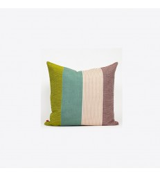 Aarona Wide Stripe Cushion - Green/Beige