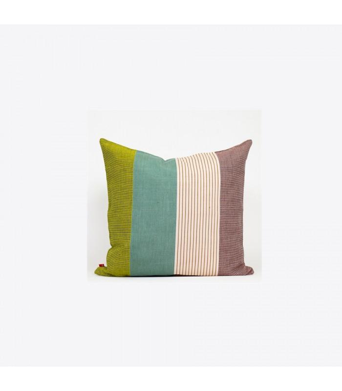 aarona wide stripe cushion green and beige