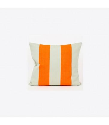 fifi orange wide stripe cushion fairtrade
