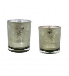 Set of 2 Christmas Candle Votives - 2 sizes