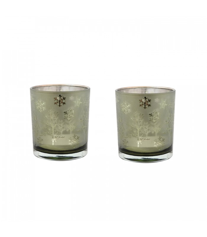 set of two small christmas noel candle holders