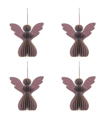 set of 4 lilac paper angels for your christmas tree