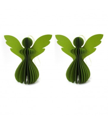 set of two green paper angel christmas tree decorations