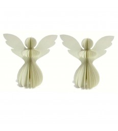 2 Ivory Paper Angels with Matching Glitter