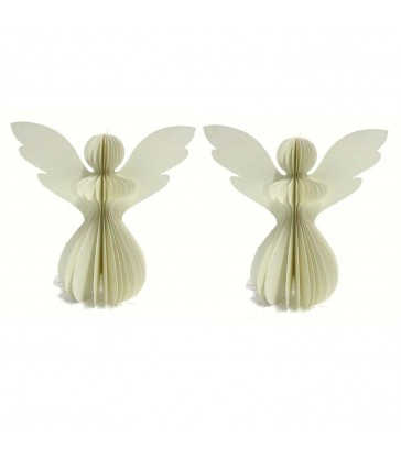 2 Ivory Paper Angels with Matching Glitter for your christmas tree