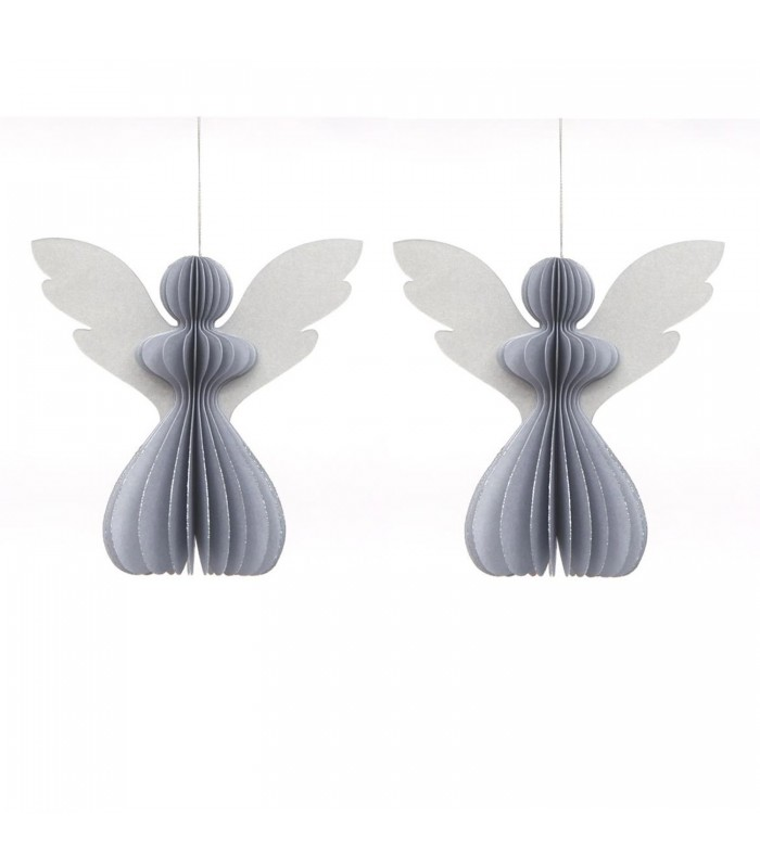 set of two silver paper angels christmas tree decorations with cilver glitter