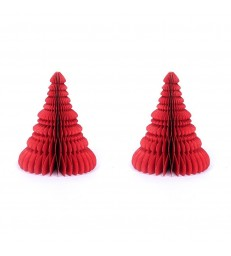Set of 2 Red Honeycomb Christmas Trees - Glitter Edges