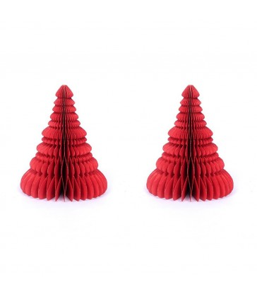 2 Small Red Honeycomb Christmas Trees - Glitter Edges
