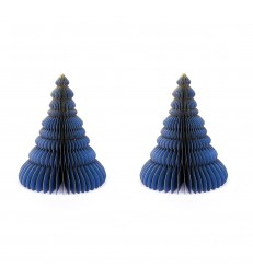 Set of 2 Blue Honeycomb Christmas Trees - Glitter Edges