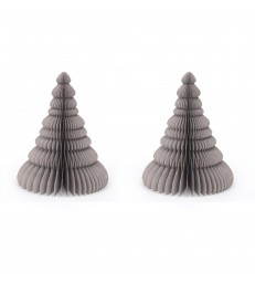 Set of 2 Grey Honeycomb Christmas Trees - Glitter Edges