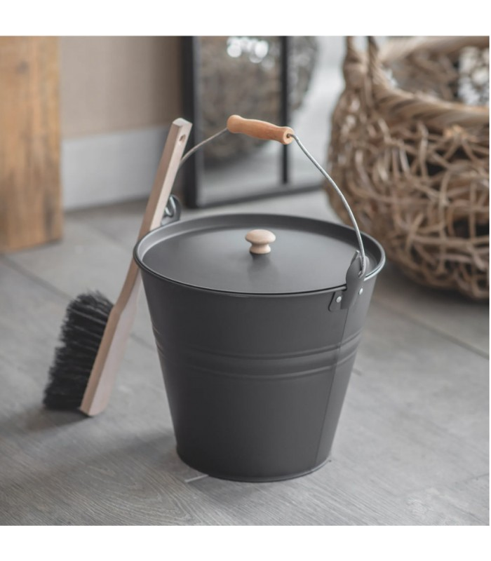 Ash Bucket in grey with lid