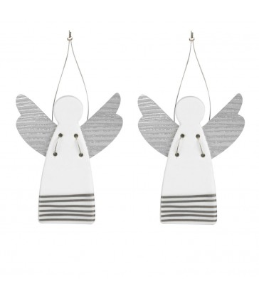 Two Christmas Tree Angels - silver stripes