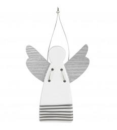 Large Christmas Tree Angel - silver stripes