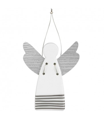 Large Christmas Tree Angel - silver stripes