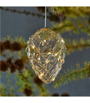 glass pine cone christmas tree decoration with lights 13cm