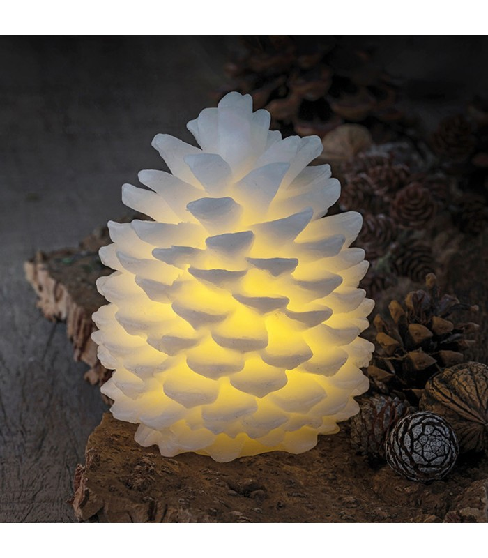 Small White Pine Cone LED Candle - 14cm
