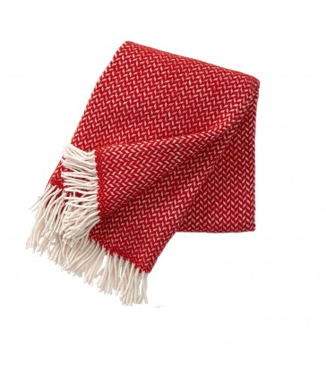 POLKA Red & White Wool Throw
