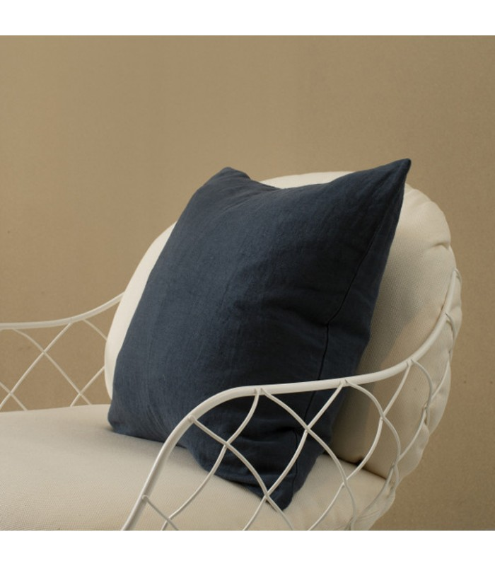 dark navy blue linen cushion