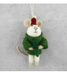 Christmas Mouse Santa Tree Decoration