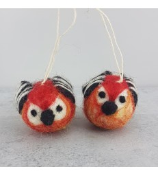 Set of 2 Felted Bird Christmas Tree Decorations